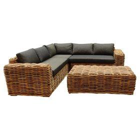 AVH-Collectie Sabuga hoek loungeset 4-delig naturel rotan