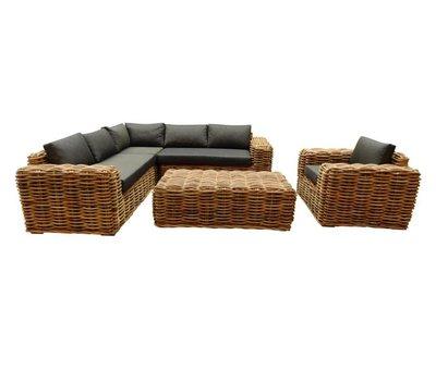 AVH-Collectie Sabuga hoek loungeset 5-delig naturel rotan