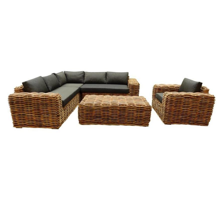 Sabuga hoek loungeset 5-delig naturel rotan