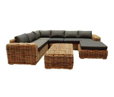 AVH-Collectie Sabuga hoek loungeset 6-delig naturel rotan