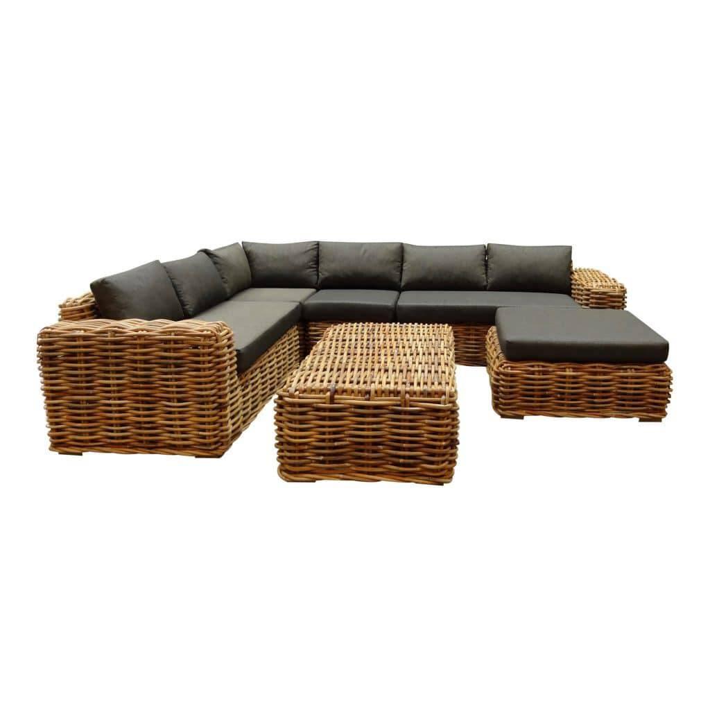 Sabuga hoek loungeset 6-delig naturel rotan