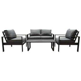 AVH-Collectie Iris stoel-bank loungeset 4-delig antraciet aluminium