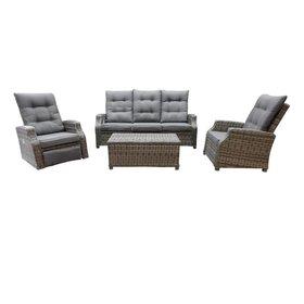 AVH-Collectie Kreta stoel-bank loungeset verstelbaar-draaibaar 4-delig grijs