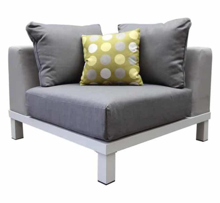 Polo hoek loungeset 4-delig aluminium wit