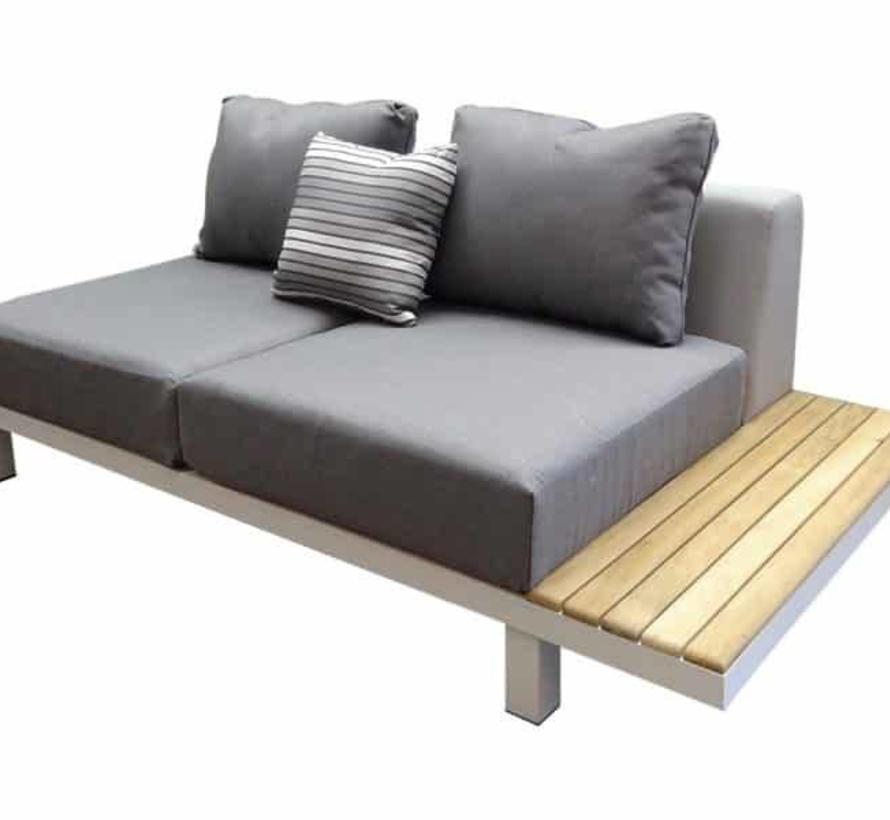 Polo hoek loungeset 5-delig aluminium wit