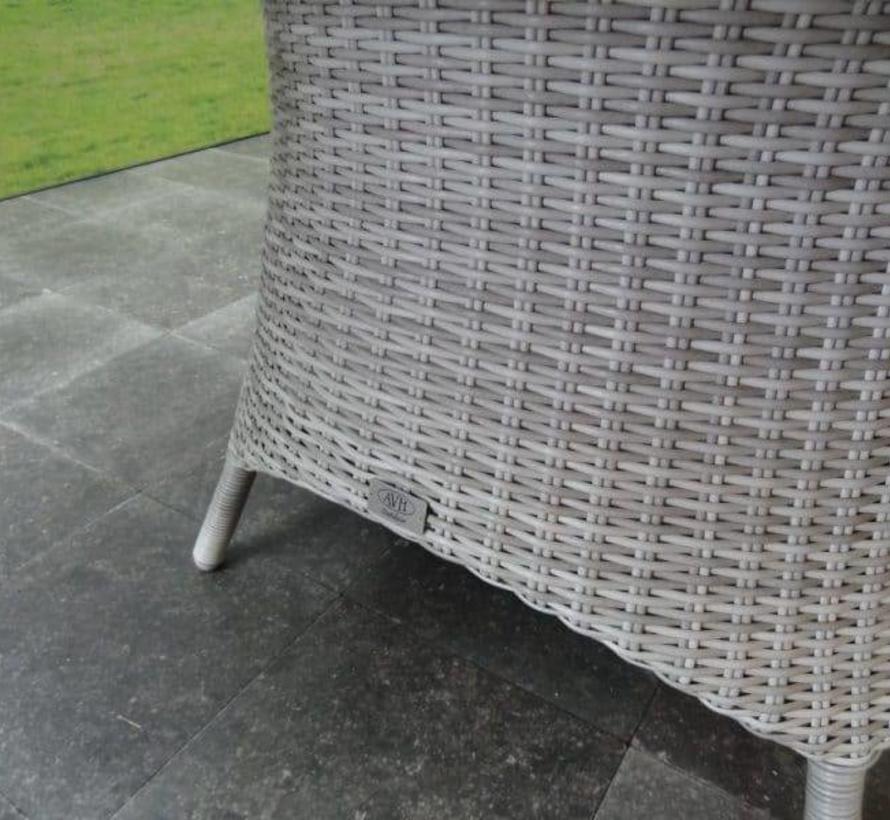 Riccione Darwin dining tuinset 110 cm rond 5-delig wit grijs