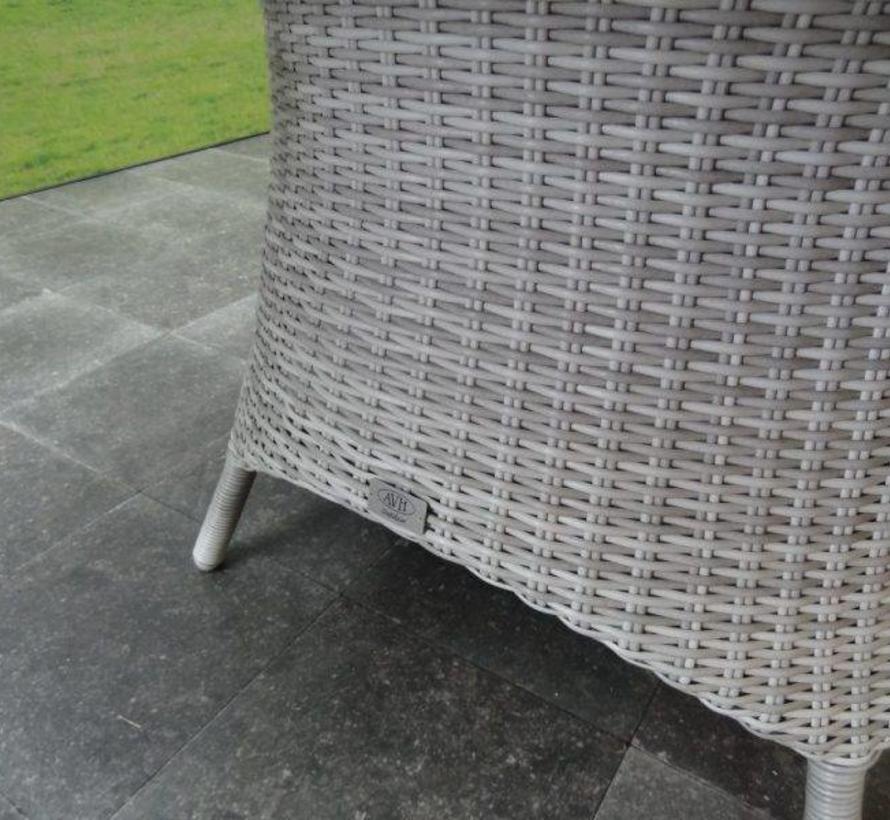 Riccione Menorca dining tuinset 150 cm rond verstelbaar 6-delig wit grijs