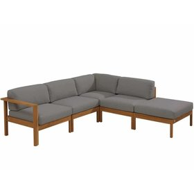 4 Seasons Outdoor Lido hoek loungeset 5-delig teak middengrijs