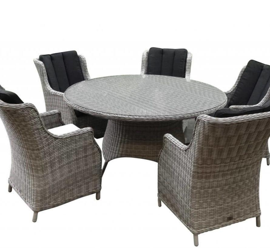 Riccione Darwin dining tuinset 150 cm rond 6-delig wit grijs