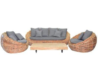 AVH-Collectie Sabuga ovaal stoel-bank loungeset 4-delig naturel rotan