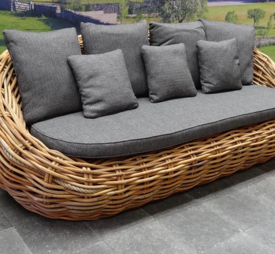 Sabuga ovaal stoel-bank loungeset 4-delig naturel rotan