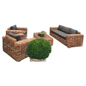 AVH-Collectie Sabuga stoel-bank loungeset 4-delig naturel rotan