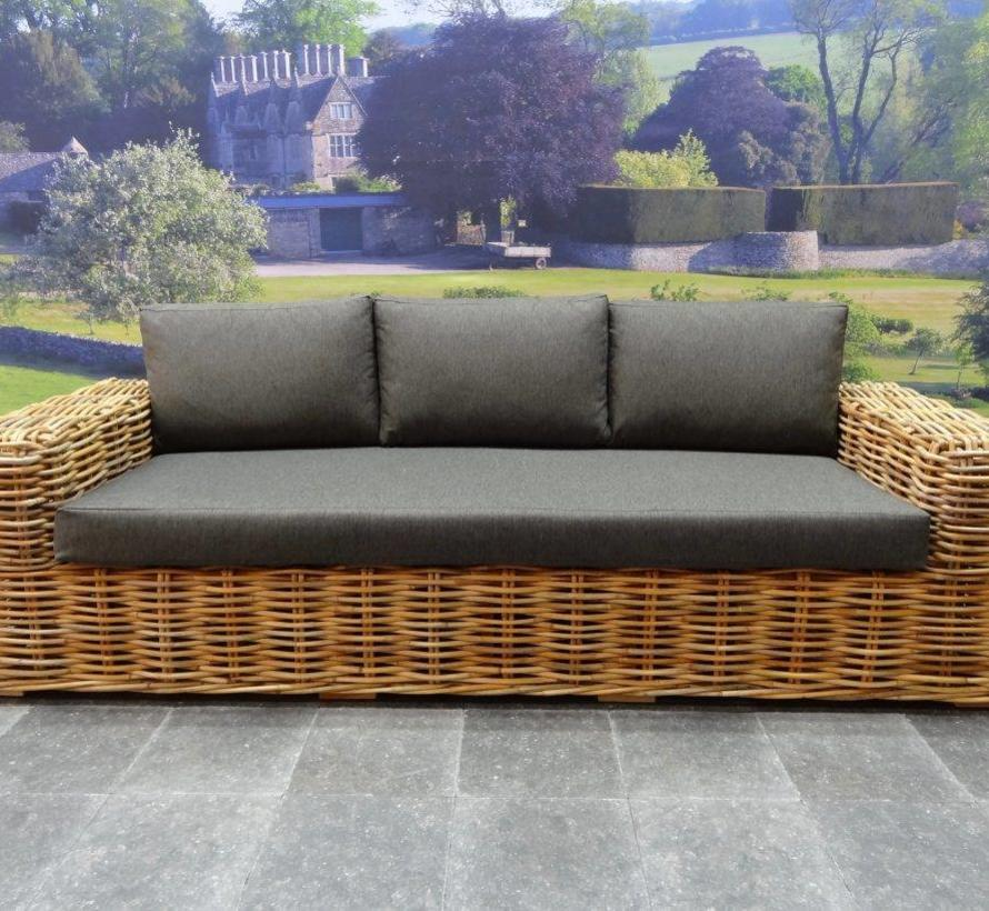Sabuga stoel-bank loungeset 4-delig naturel rotan