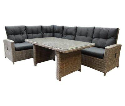 AVH-Collectie San Marino hoek dining loungeset verstelbaar 3-delig  grijs