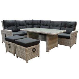 AVH-Collectie San Marino hoek dining loungeset verstelbaar 5-delig  wit grijs