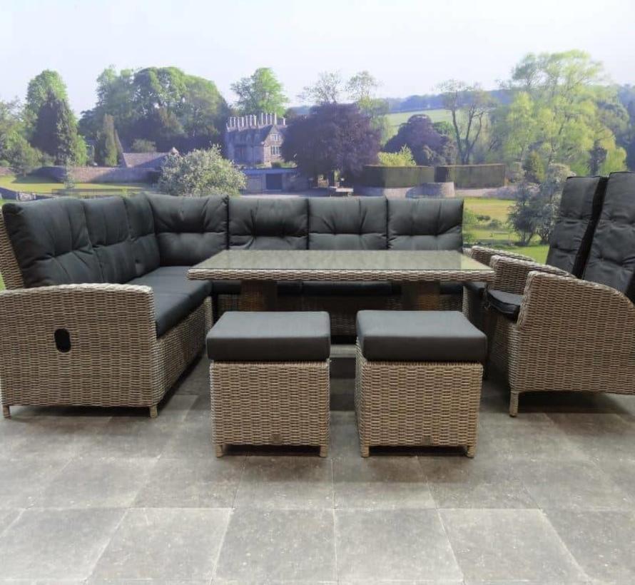 San Marino hoek dining loungeset verstelbaar 7-delig  grijs