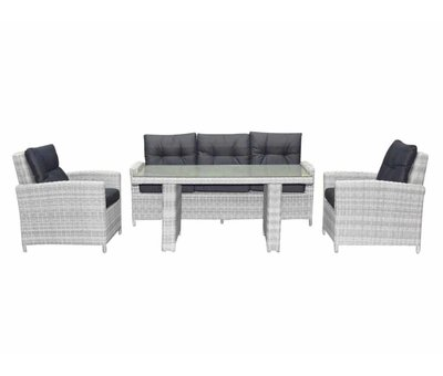 AVH-Collectie San Marino stoel-bank dining loungeset 4-delig wit grijs