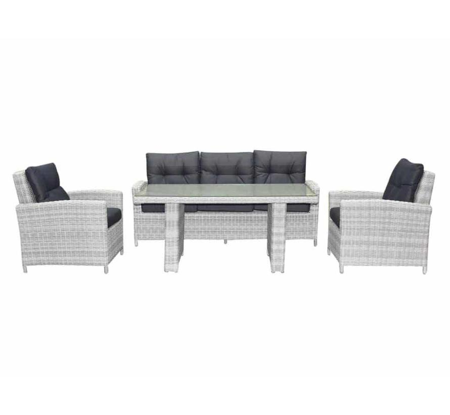 San Marino stoel-bank dining loungeset 4-delig wit grijs