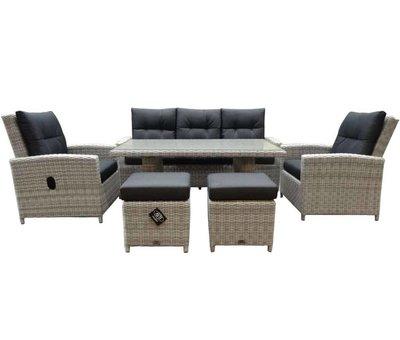 AVH-Collectie San Marino stoel-bank dining loungeset verstelbaar 6-delig  wit grijs