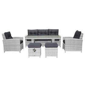 AVH-Collectie San Marino stoel-bank dining loungeset 6-delig wit grijs