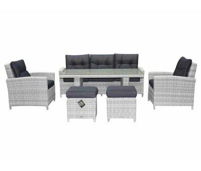 AVH-Collectie San Marino stoel-bank dining loungeset 6-delig wit grijs