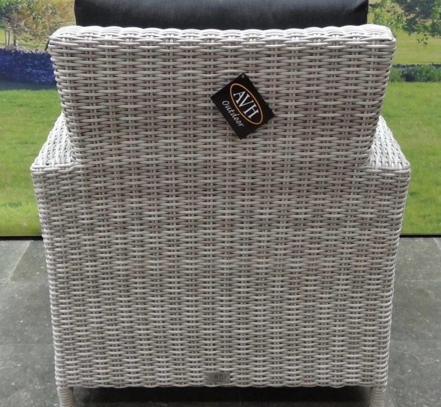 San Marino stoel-bank dining loungeset 6-delig wit grijs
