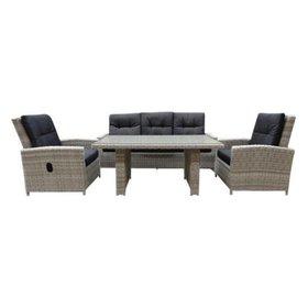 AVH-Collectie San Marino stoel-bank lounge diningset verstelbaar 4-delig  wit grijs