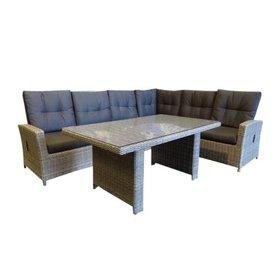 AVH-Collectie San Marino hoek dining loungeset rechts verstelbaar 5-delig grijs