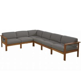4 Seasons Outdoor Lido hoek loungeset 6-delig teak middengrijs