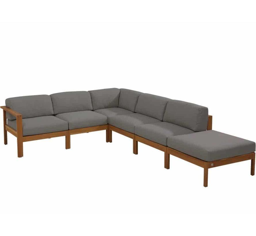 Lido hoek loungeset 6-delig teak middengrijs