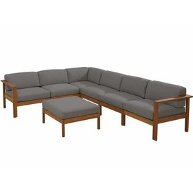 4 Seasons Outdoor Lido hoek loungeset 7-delig teak middengrijs
