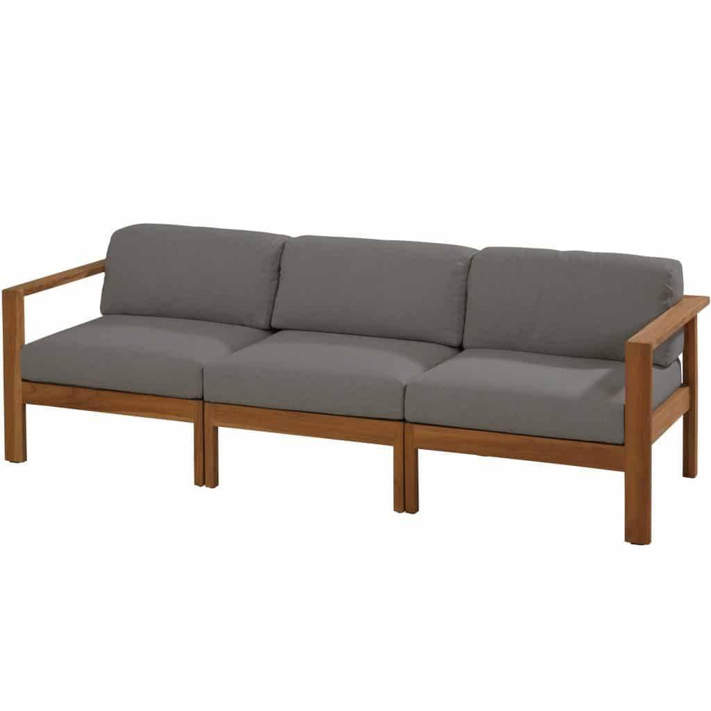 Lido lounge tuinbank 3-zits teak middengrijs