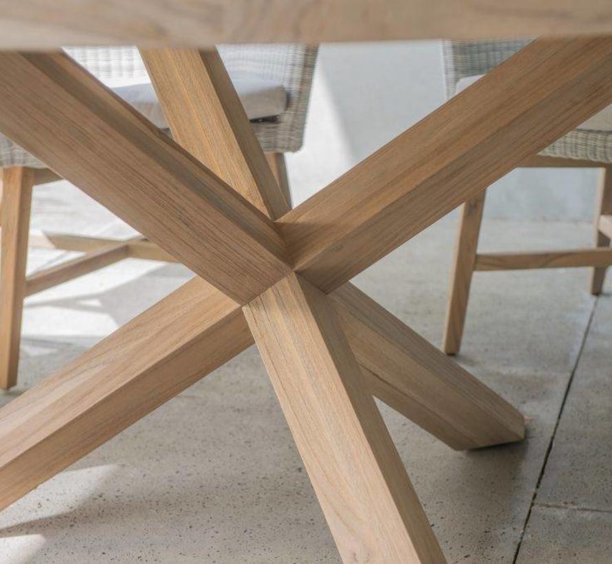 Lisboa dining tuinset Ø 160x75H cm 8-delig teak tafel polyloom
