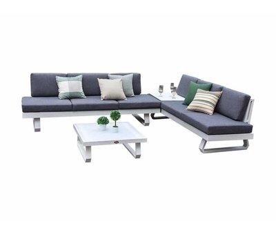 AVH-Collectie Luca hoek loungeset 4-delig wit aluminium
