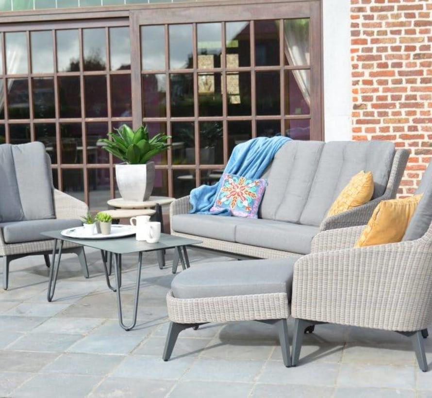 Luxor stoel-bank loungeset 4-delig pebble