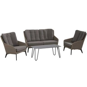 4 Seasons Outdoor Luxor stoel-bank loungeset 4-delig pebble