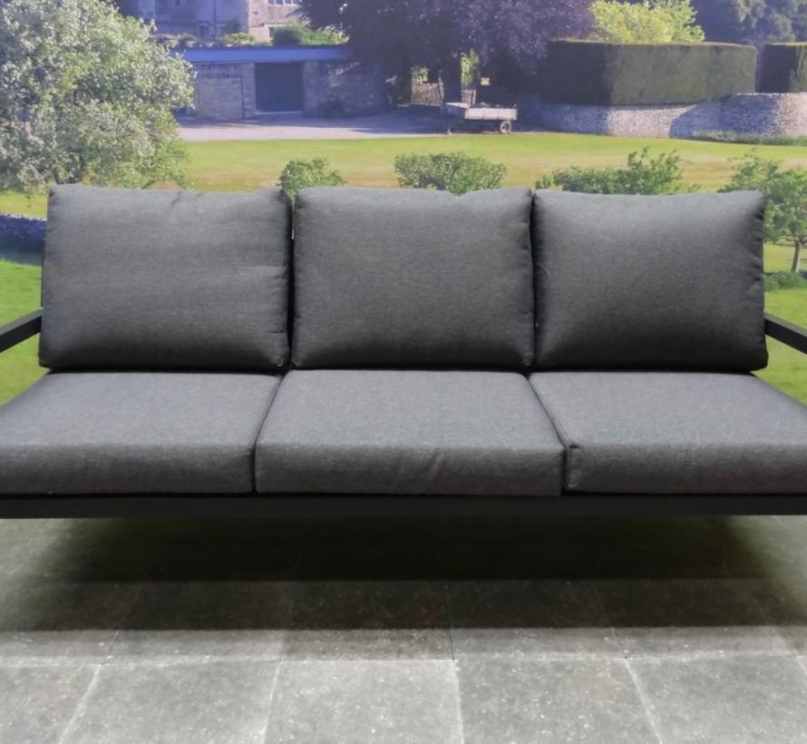 Madrid stoel-bank loungeset 4-delig antraciet aluminium