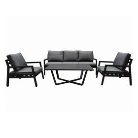 AVH-Collectie Madrid stoel-bank loungeset 4-delig antraciet aluminium