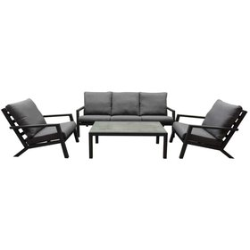 AVH-Collectie Malaga stoel-bank loungeset 4-delig antraciet aluminium