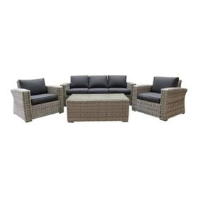 AVH-Collectie Mambo stoel-bank XL loungeset 4-delig wit grijs
