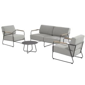 4 Seasons Outdoor Coast stoel-bank loungeset 4-delig antraciet rvs 4 Seasons Outdoor