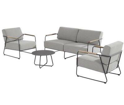 4 Seasons Outdoor Coast stoel-bank loungeset 4-delig antraciet rvs 4 Seasons Outdoor