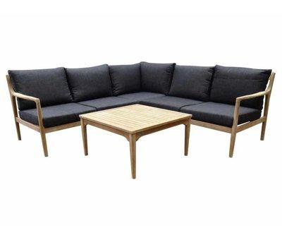 AVH-Collectie Manchester hoek loungeset 4-delig acacia zwart