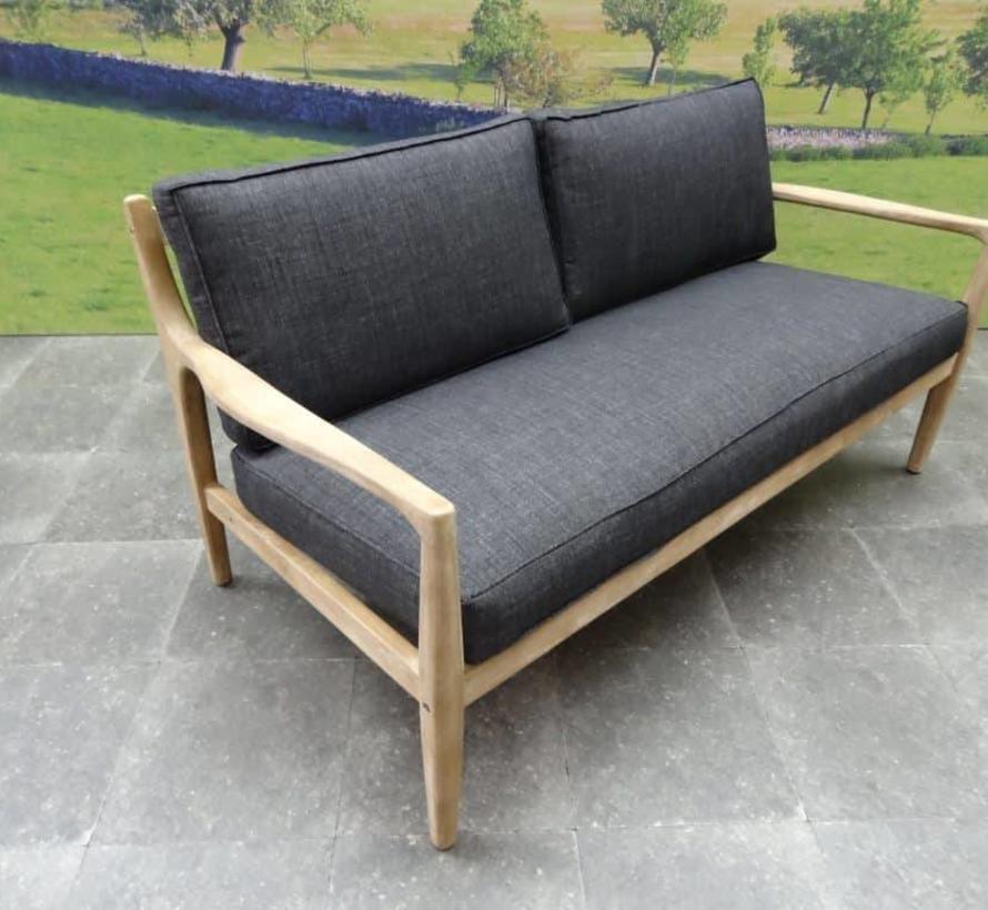 Manchester stoel-bank loungeset 4-delig acacia zwart