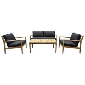 AVH-Collectie Manchester stoel-bank loungeset 4-delig acacia zwart