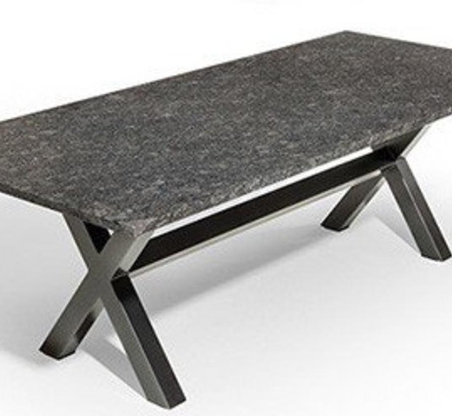 Marbella dining tuintafel 200x100xH75 cm 3cm graniet pearl black satinado