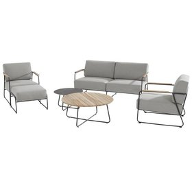4 Seasons Outdoor Coast stoel-bank loungeset 6-delig antraciet rvs 4 Seasons Outdoor