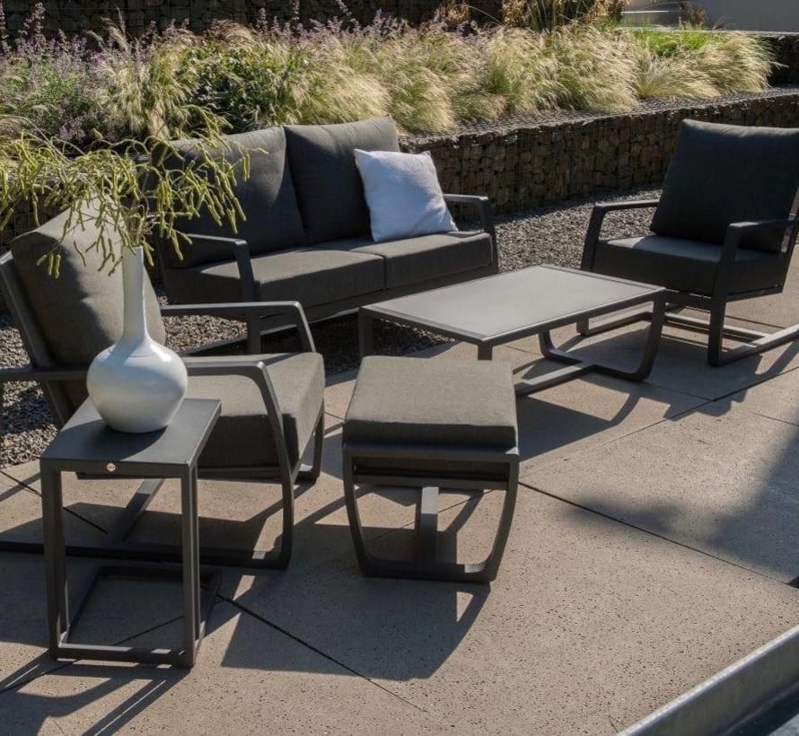 New Mauritius stoel-bank loungeset 4-delig donker grijs aluminium Taste 4SO