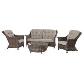 4 Seasons Outdoor Madoera stoel-bank loungeset 4-delig bruin