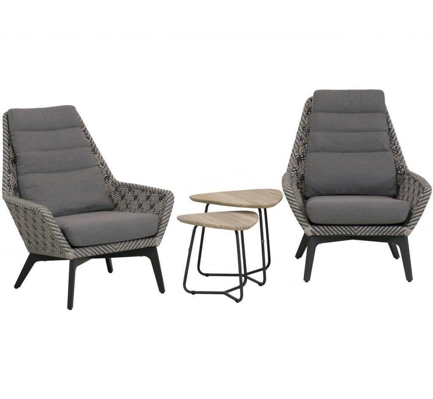 Savoy lounge balkonset 4-delig grijs 4-Seasons Outdoor